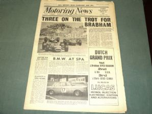 MOTORING NEWS 1966 July 28 Dutch GP, Spa 24 hr, Guy Ligier, Castle Combe, Oulton